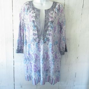 Calypso St Barth Tunic Top Paisley Embroidered